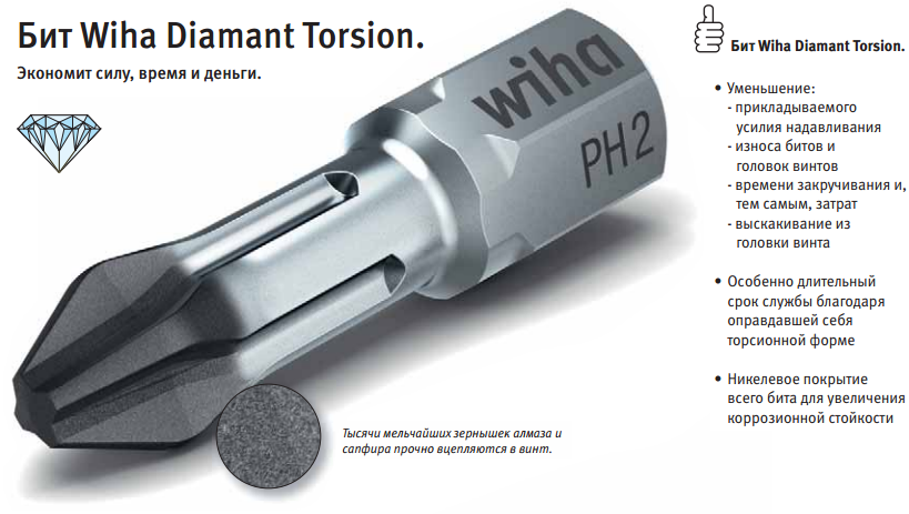 бит wiha diamant torsion
